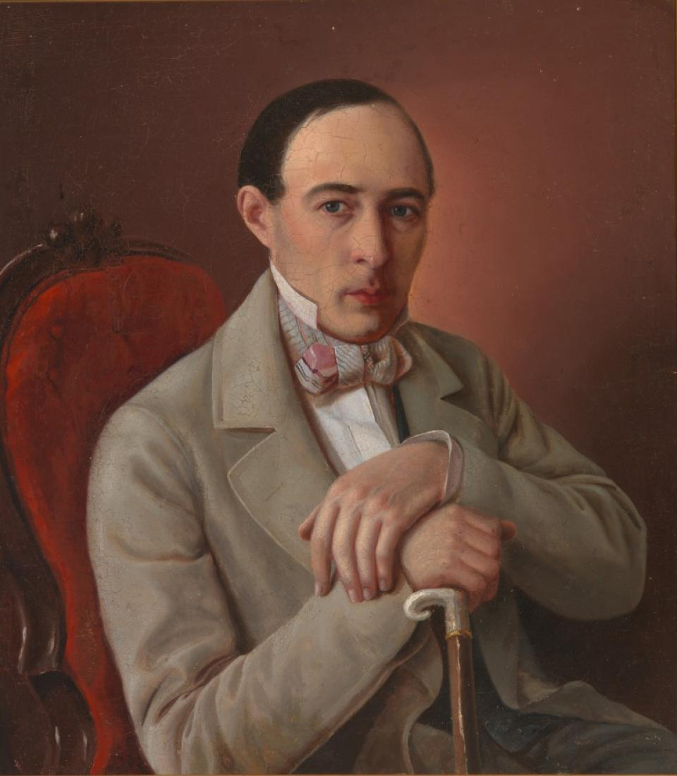 Portrait of a Sitting Man with a Cane